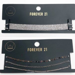 Forever 21 Set of 4 Silver Chokers NEW
